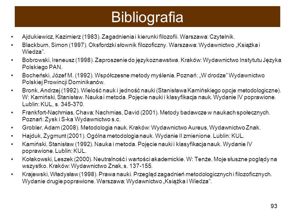 Bibliografia Ajdukiewicz, Kazimierz (1983). Zagadnienia i kierunki filozofii. Warszawa: Czytelnik.