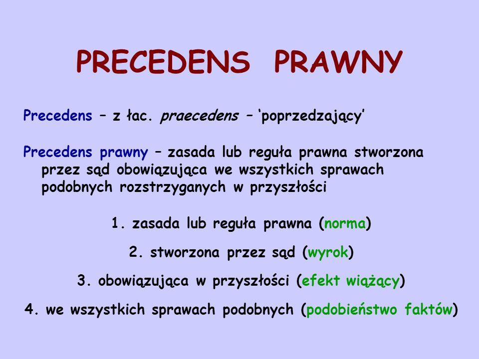 PRECEDENS PRAWNY Precedens – z łac. praecedens – 'poprzedzający'