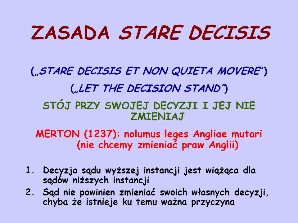 """ZASADA STARE DECISIS (""""STARE DECISIS ET NON QUIETA MOVERE )"""