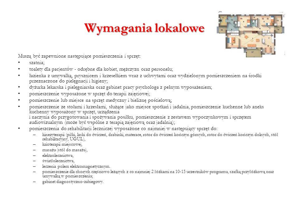 Wymagania lokalowe Muszą być zapewnione następujące pomieszczenia i sprzęt: szatnia;