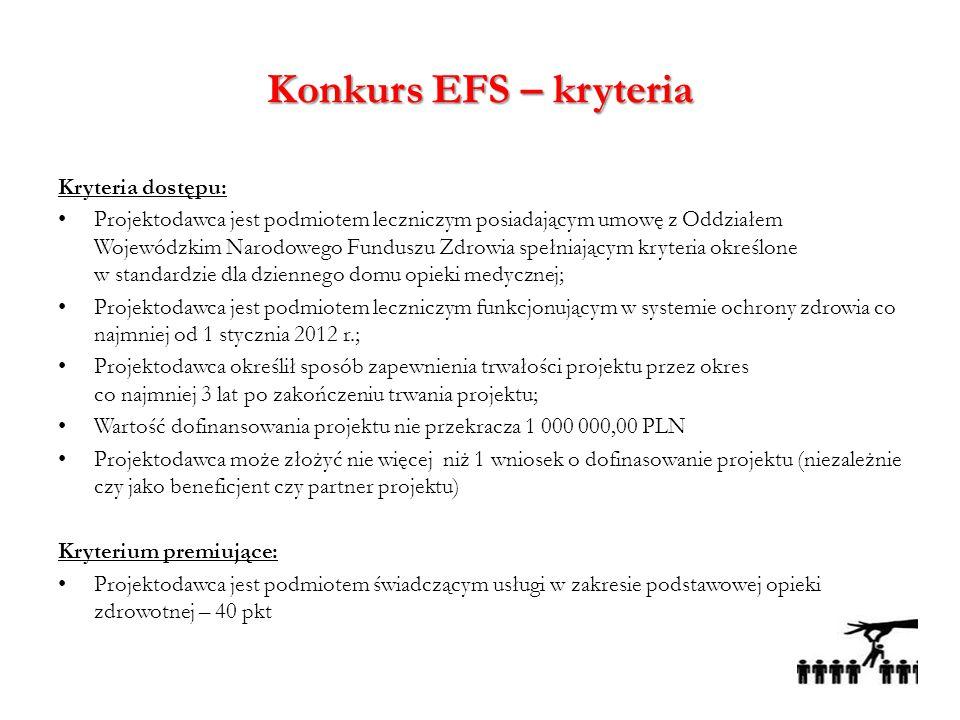 Konkurs EFS – kryteria Kryteria dostępu: