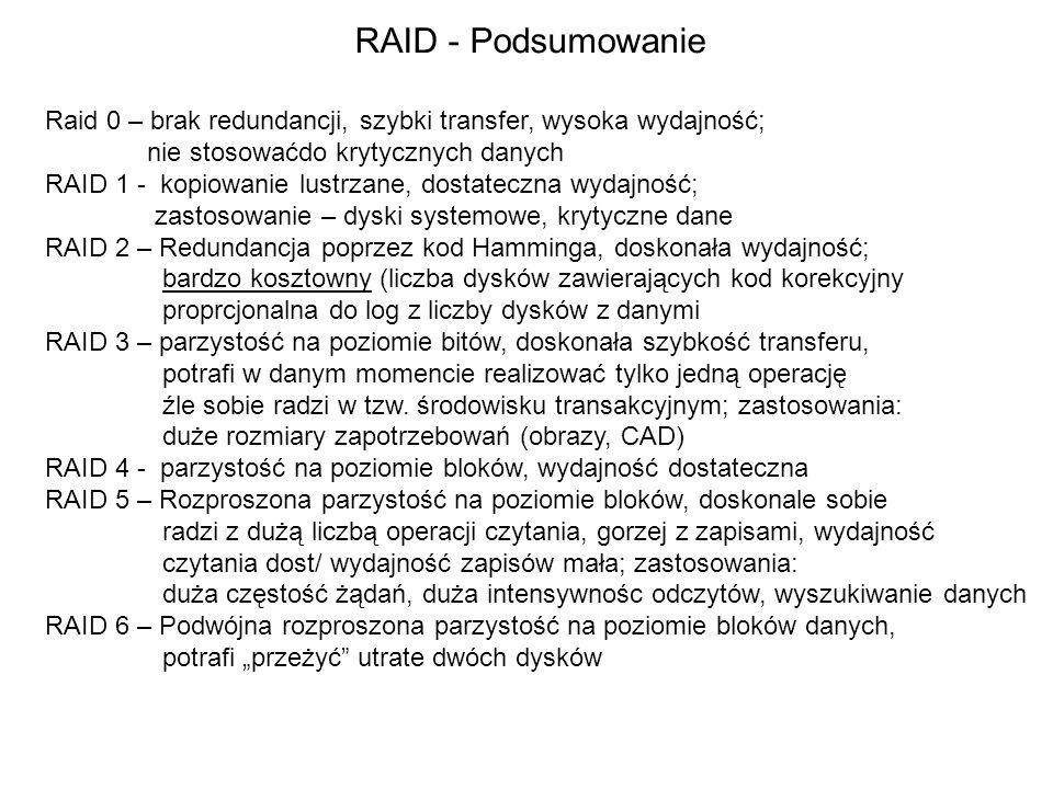 RAID - Podsumowanie Raid 0 – brak redundancji, szybki transfer, wysoka wydajność; nie stosowaćdo krytycznych danych.