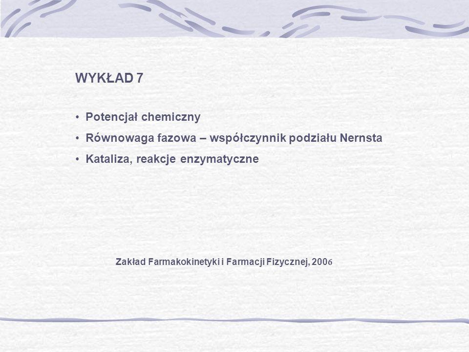WYKŁAD 7 Potencjał chemiczny