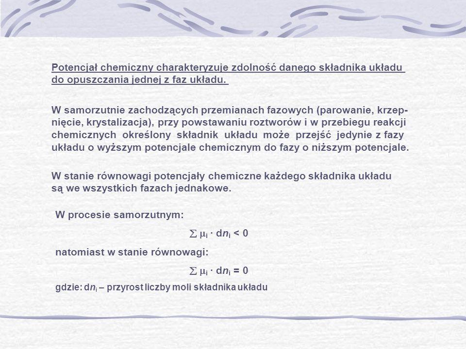 Potencjał chemiczny charakteryzuje zdolność danego składnika układu