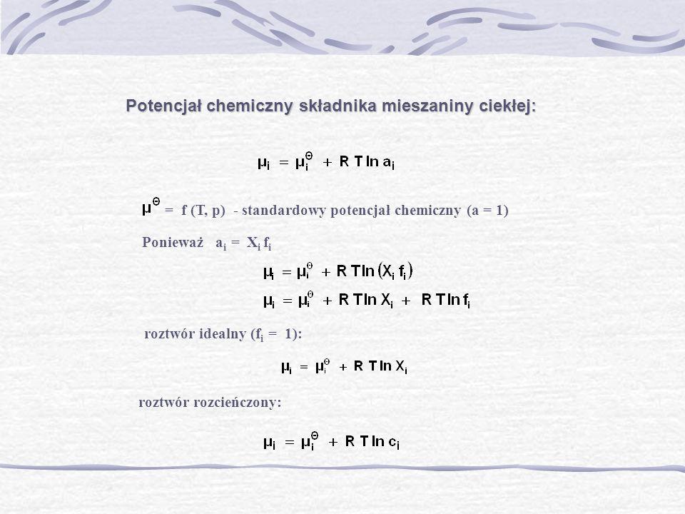 Potencjał chemiczny składnika mieszaniny ciekłej: