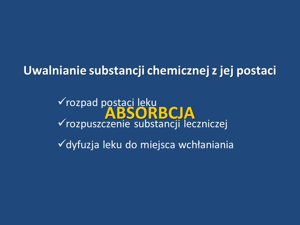 Uwalnianie substancji chemicznej z jej postaci
