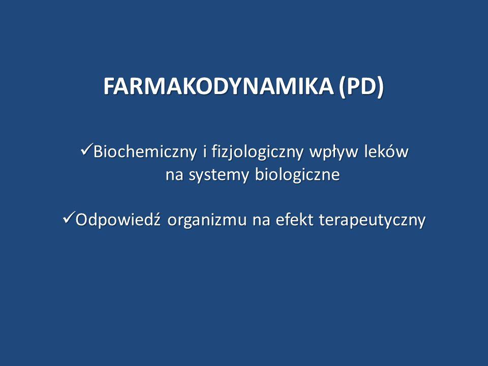 FARMAKODYNAMIKA (PD) Biochemiczny i fizjologiczny wpływ leków