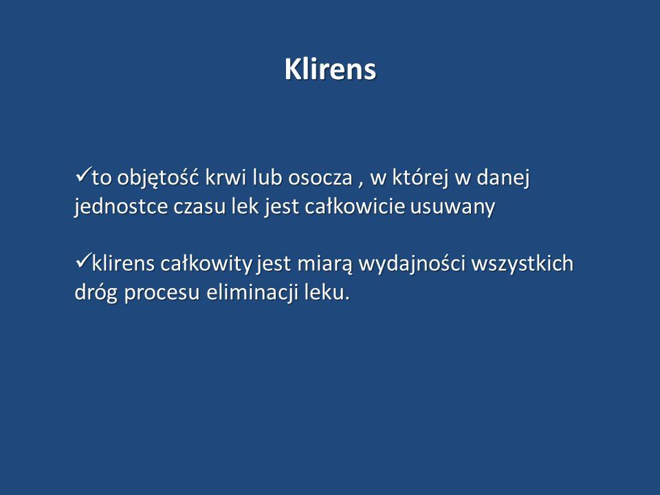 Klirens to objętość krwi lub osocza , w której w danej jednostce czasu lek jest całkowicie usuwany.