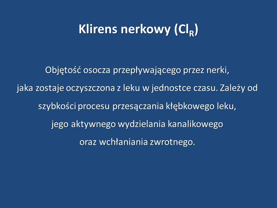 Klirens nerkowy (ClR) Objętość osocza przepływającego przez nerki,