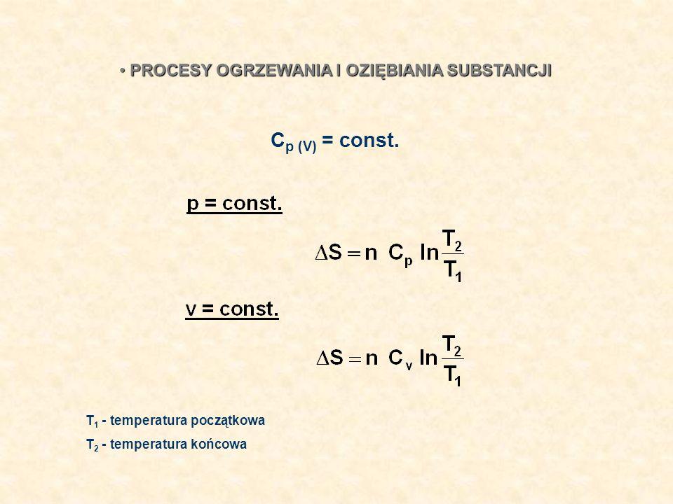 Cp (V) = const. PROCESY OGRZEWANIA I OZIĘBIANIA SUBSTANCJI