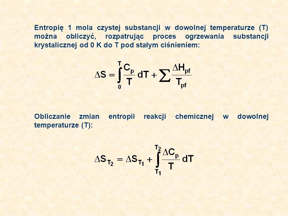 Entropię 1 mola czystej substancji w dowolnej temperaturze (T) można obliczyć, rozpatrując proces ogrzewania substancji krystalicznej od 0 K do T pod stałym ciśnieniem: