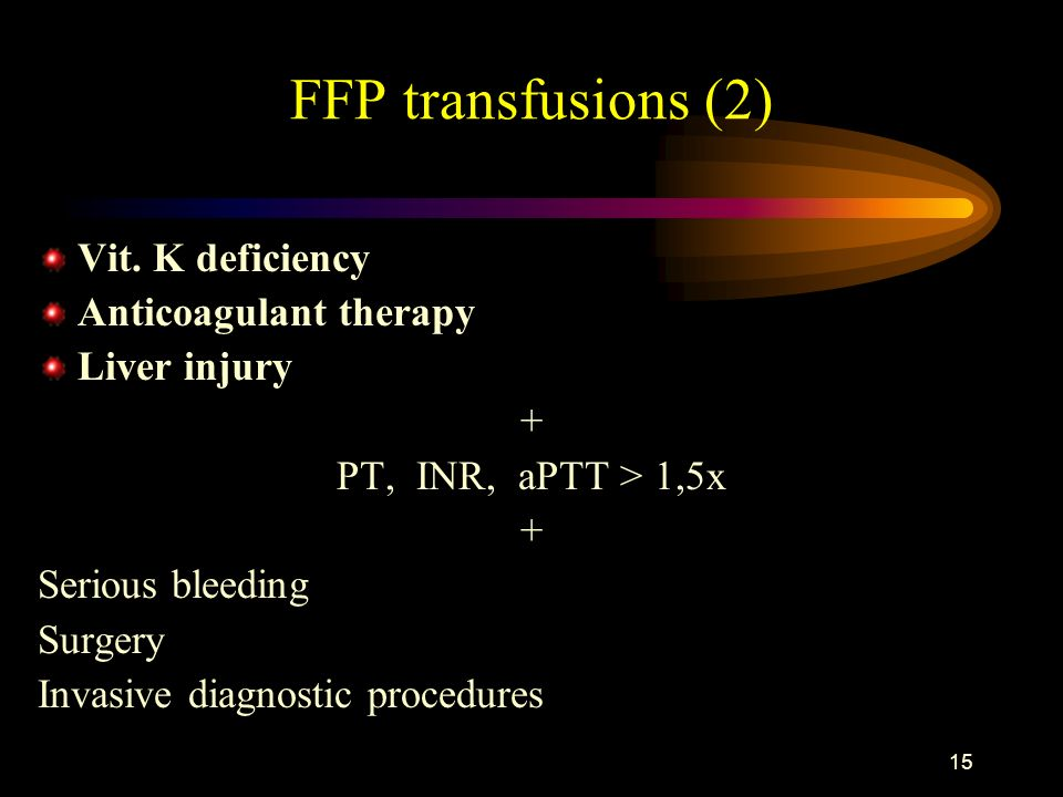 FFP transfusions (2) Vit. K deficiency Anticoagulant therapy