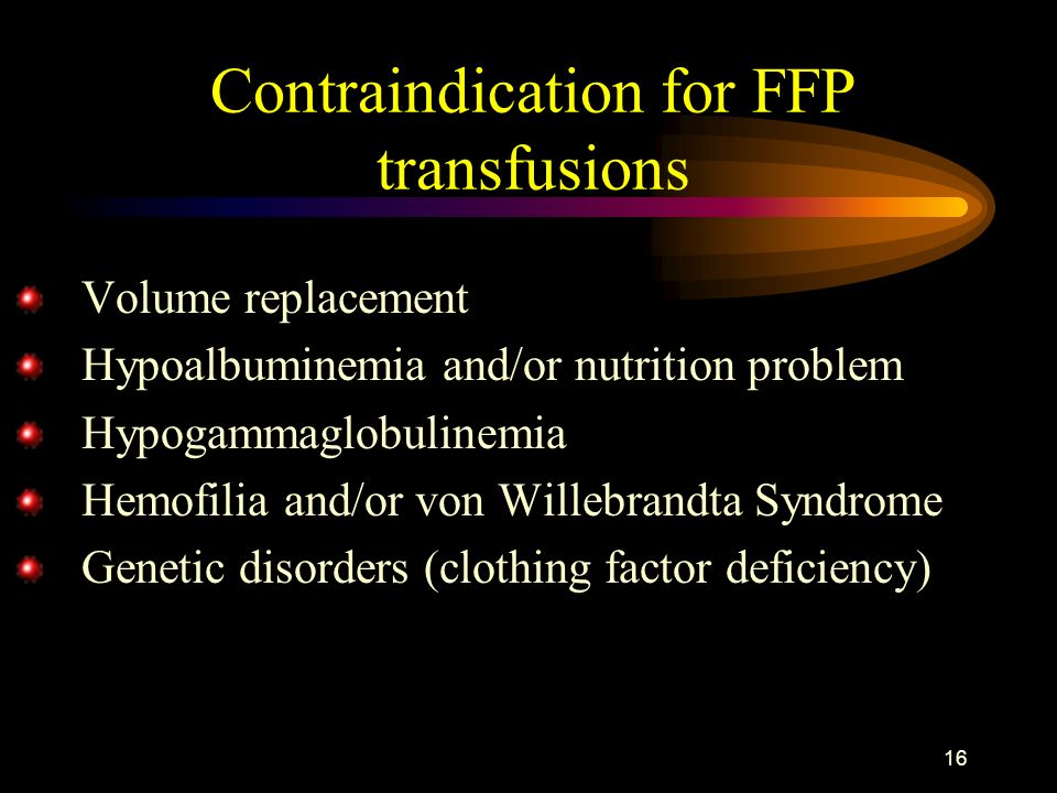 Contraindication for FFP transfusions