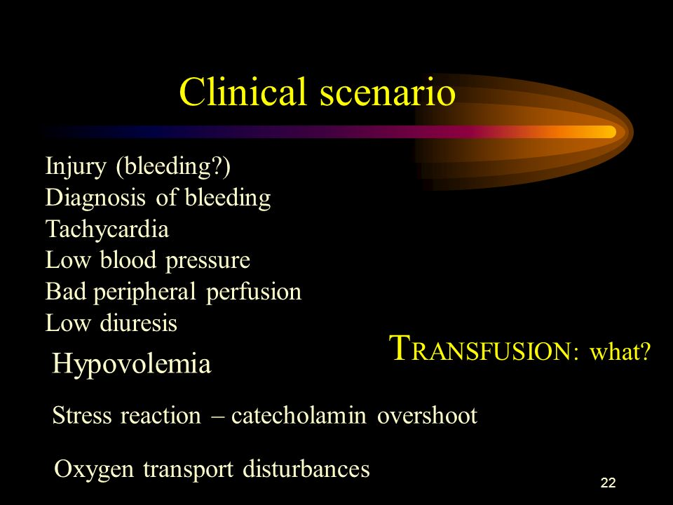 Clinical scenario TRANSFUSION: what Hypovolemia Injury (bleeding )