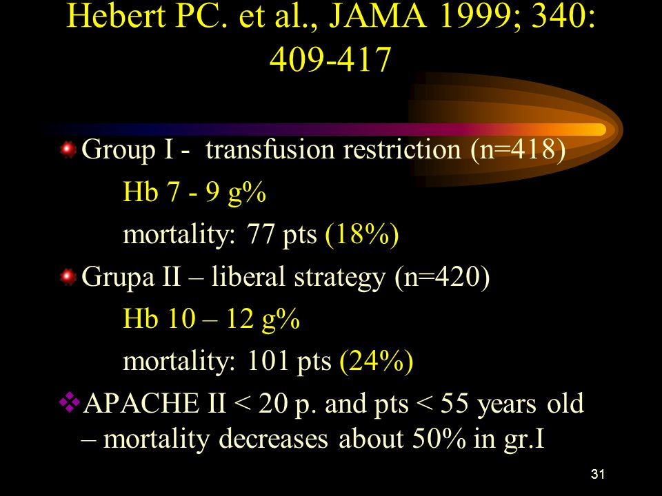 Hebert PC. et al., JAMA 1999; 340: 409-417 Group I - transfusion restriction (n=418) Hb 7 - 9 g% mortality: 77 pts (18%)