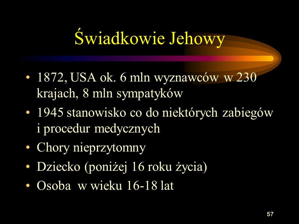 Świadkowie Jehowy1872, USA ok. 6 mln wyznawców w 230 krajach, 8 mln sympatyków. 1945 stanowisko co do niektórych zabiegów i procedur medycznych.