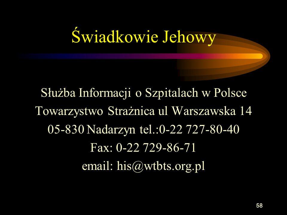 Świadkowie Jehowy Służba Informacji o Szpitalach w Polsce