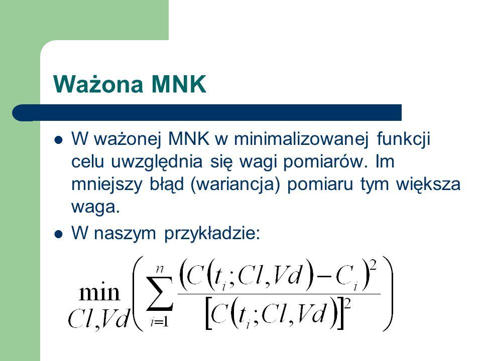 Ważona MNK W ważonej MNK w minimalizowanej funkcji celu uwzględnia się wagi pomiarów. Im mniejszy błąd (wariancja) pomiaru tym większa waga.