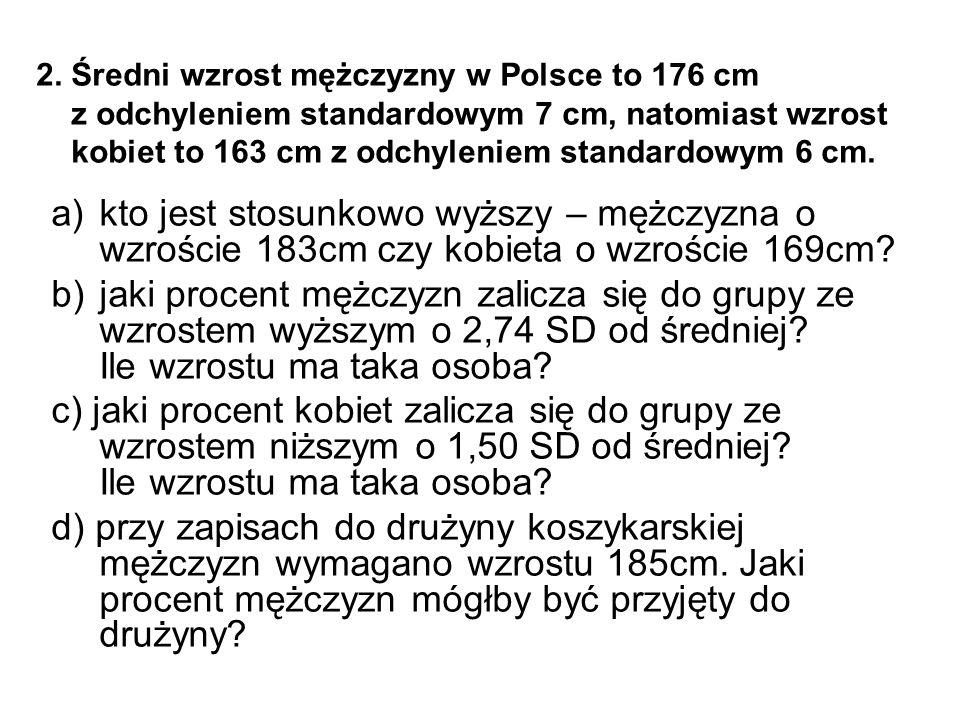 2. Średni wzrost mężczyzny w Polsce to 176 cm