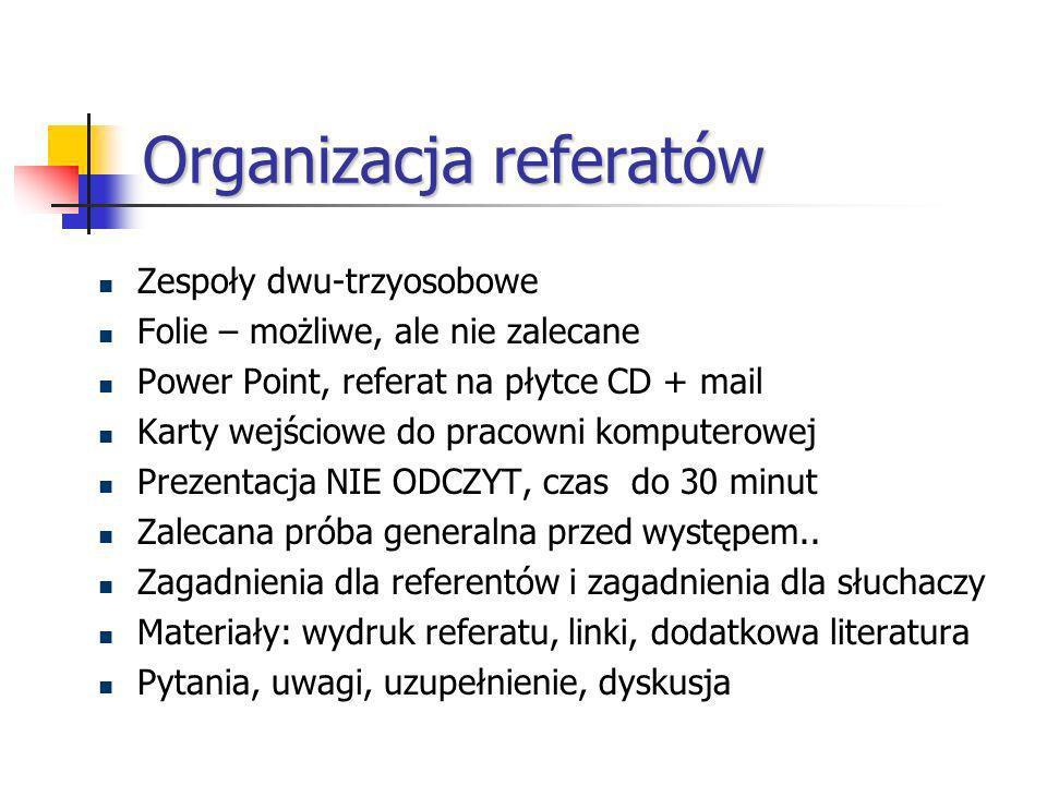 Organizacja referatów