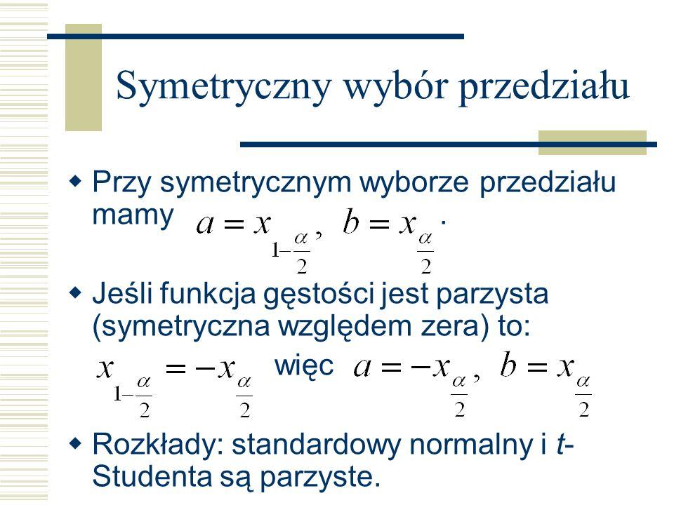 Symetryczny wybór przedziału