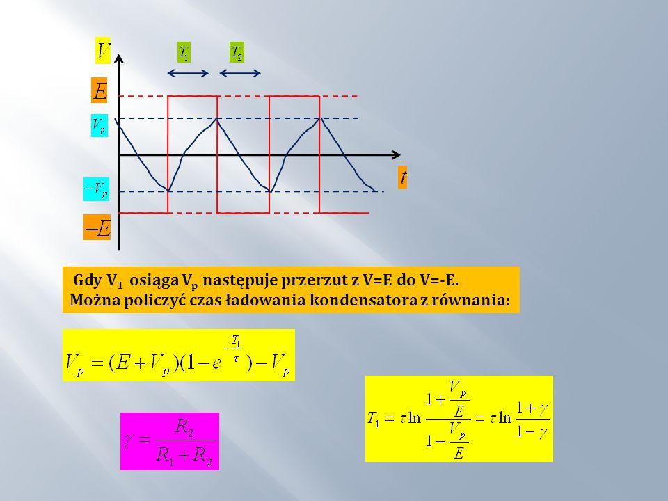 Gdy V1 osiąga Vp następuje przerzut z V=E do V=-E.