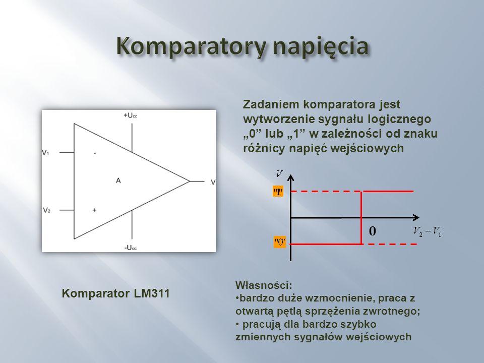 """Komparatory napięciaZadaniem komparatora jest wytworzenie sygnału logicznego """"0 lub """"1 w zależności od znaku różnicy napięć wejściowych."""
