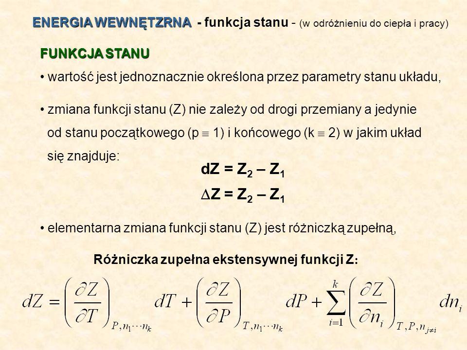 Różniczka zupełna ekstensywnej funkcji Z: