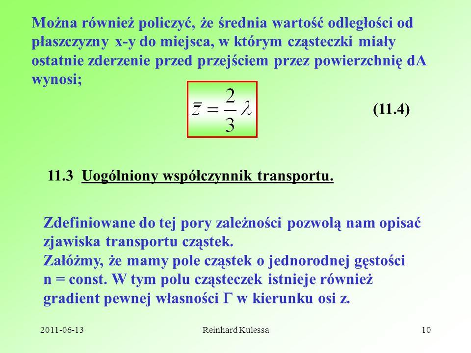11.3 Uogólniony współczynnik transportu.