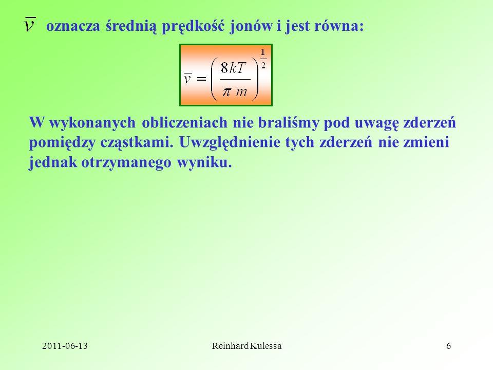 oznacza średnią prędkość jonów i jest równa: