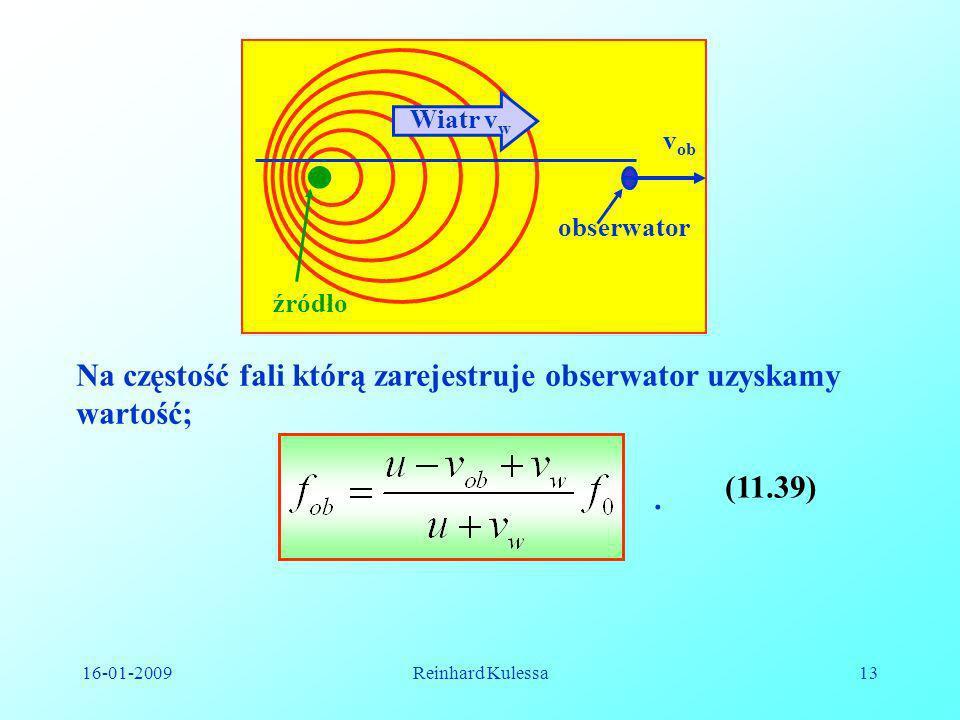 Na częstość fali którą zarejestruje obserwator uzyskamy wartość;