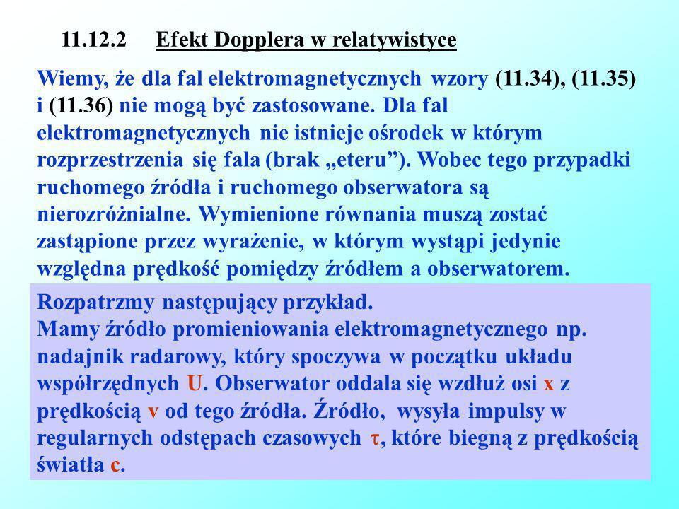 11.12.2 Efekt Dopplera w relatywistyce
