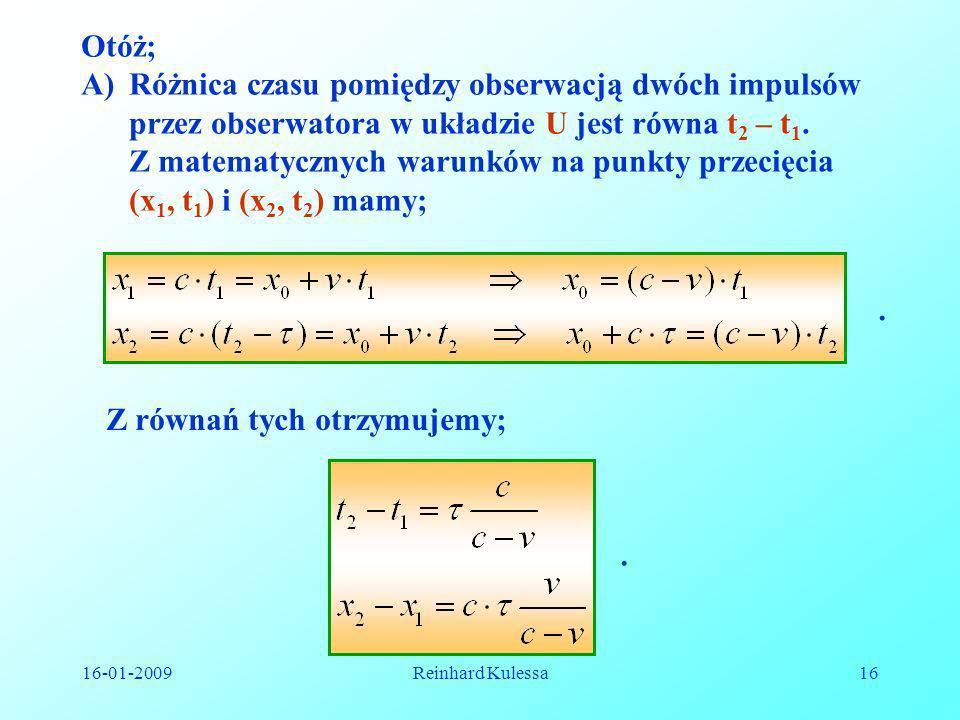 Różnica czasu pomiędzy obserwacją dwóch impulsów