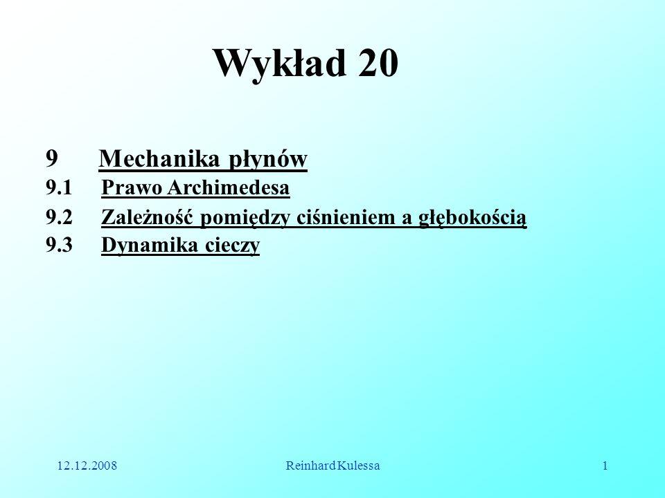 Wykład 20 Mechanika płynów 9.1 Prawo Archimedesa
