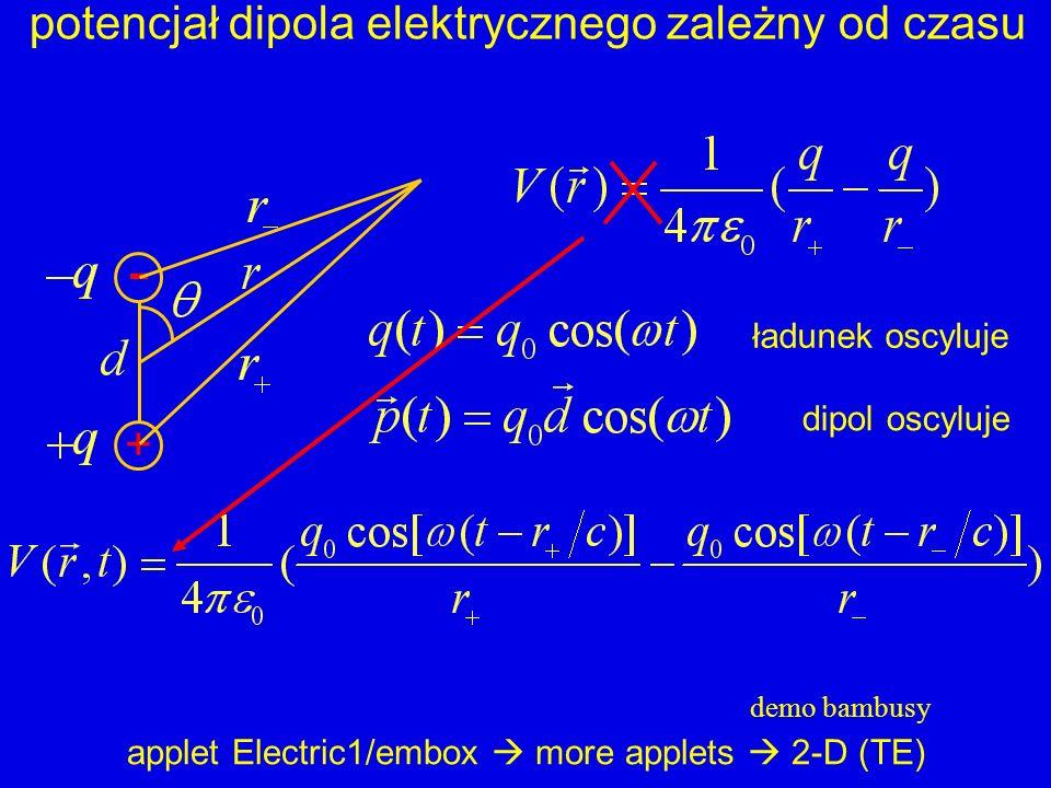 - potencjał dipola elektrycznego zależny od czasu + ładunek oscyluje
