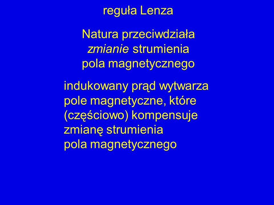 reguła LenzaNatura przeciwdziała. zmianie strumienia. pola magnetycznego. indukowany prąd wytwarza.
