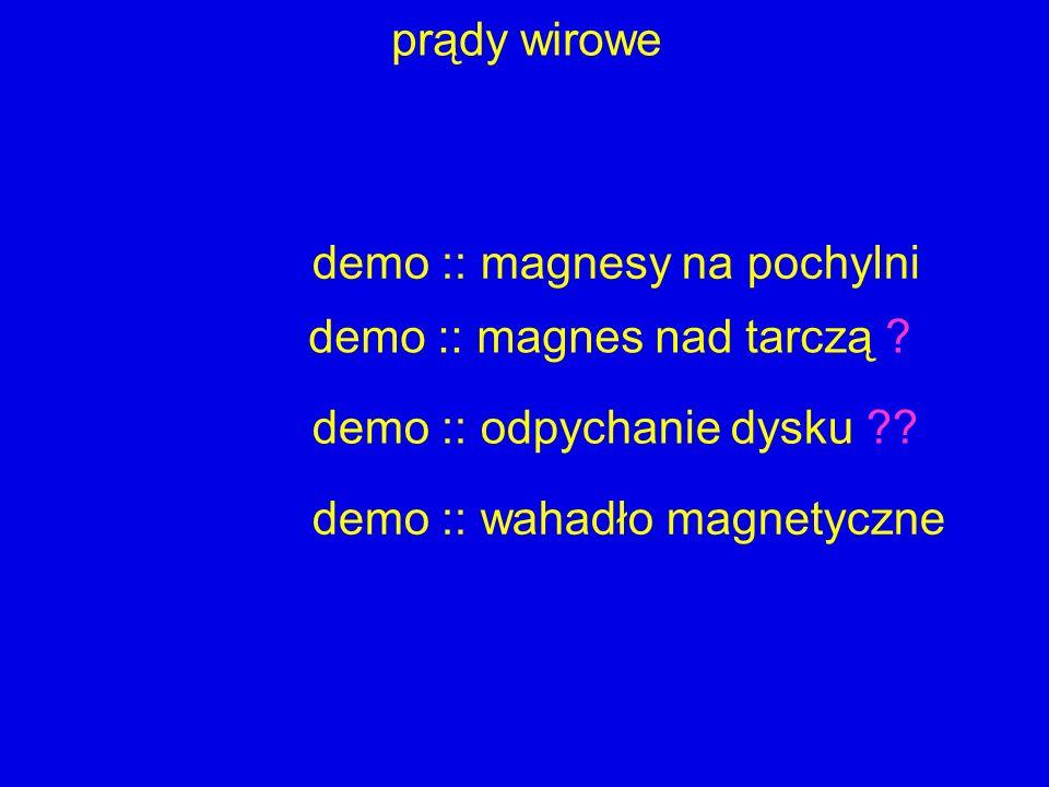 prądy wirowe demo :: magnesy na pochylni. demo :: magnes nad tarczą demo :: odpychanie dysku