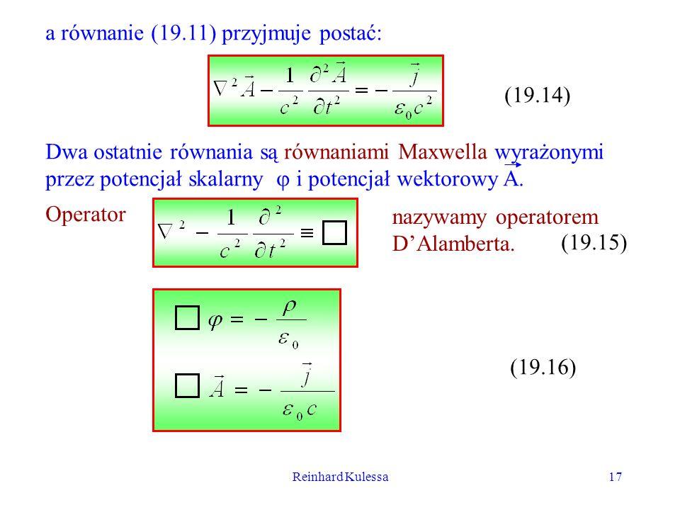 a równanie (19.11) przyjmuje postać: