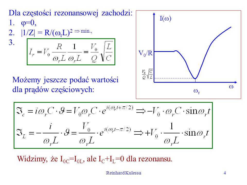Dla częstości rezonansowej zachodzi: =0, |1/Z| = R/(rL)2  min.,