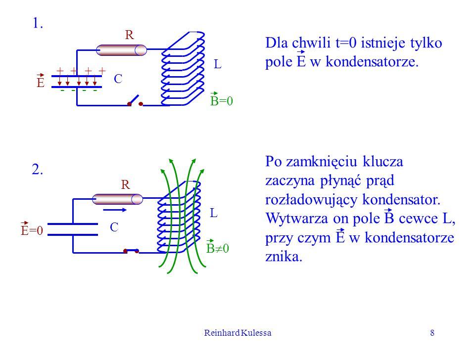 Dla chwili t=0 istnieje tylko pole E w kondensatorze.