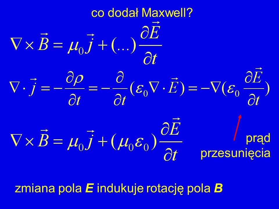 co dodał Maxwell prąd przesunięcia zmiana pola E indukuje rotację pola B