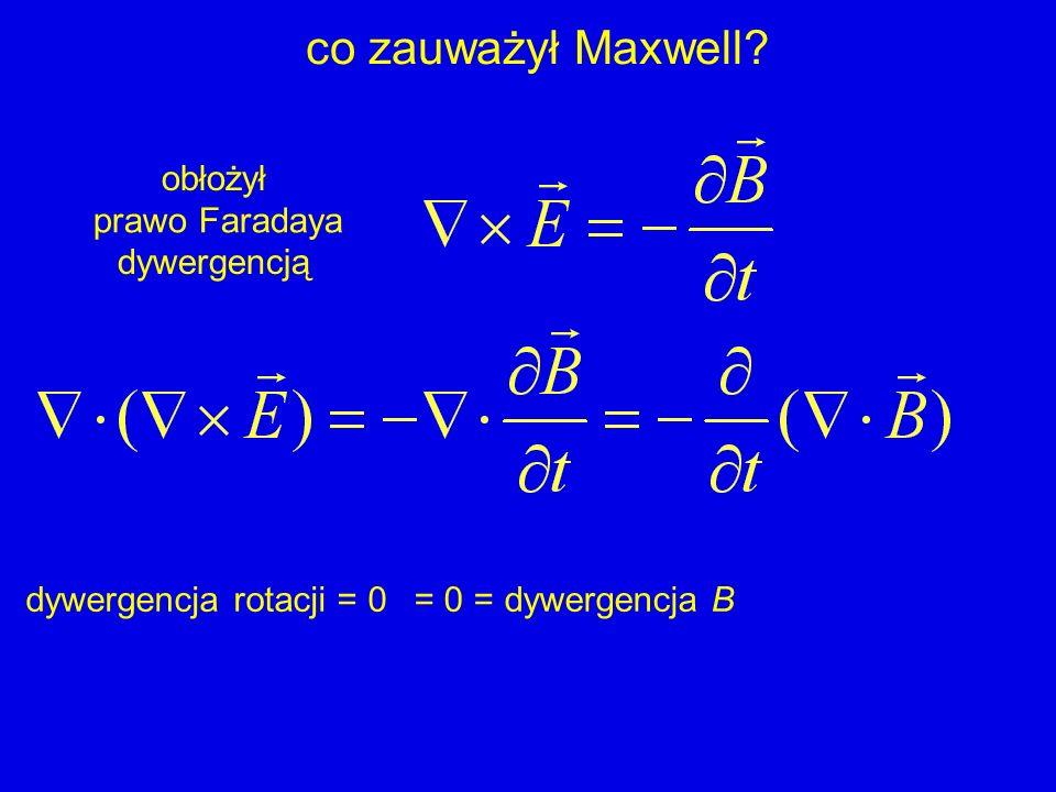 co zauważył Maxwell prawo Faradaya obłożył dywergencją
