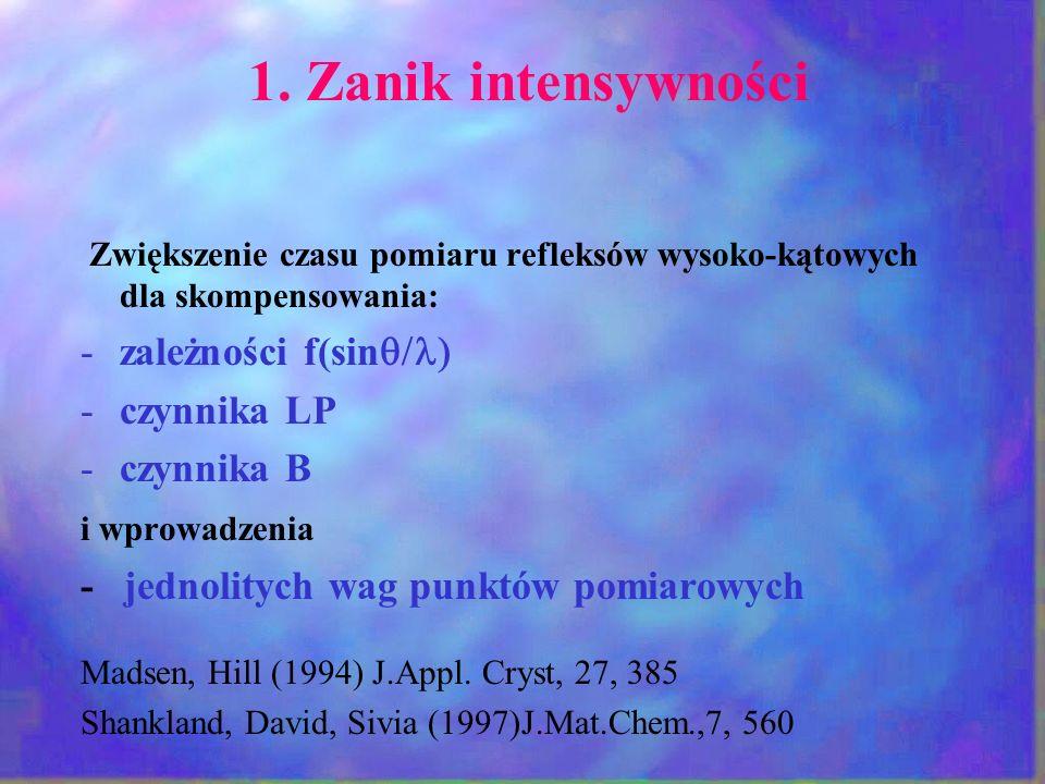 1. Zanik intensywności zależności f(sinq/l) czynnika LP czynnika B