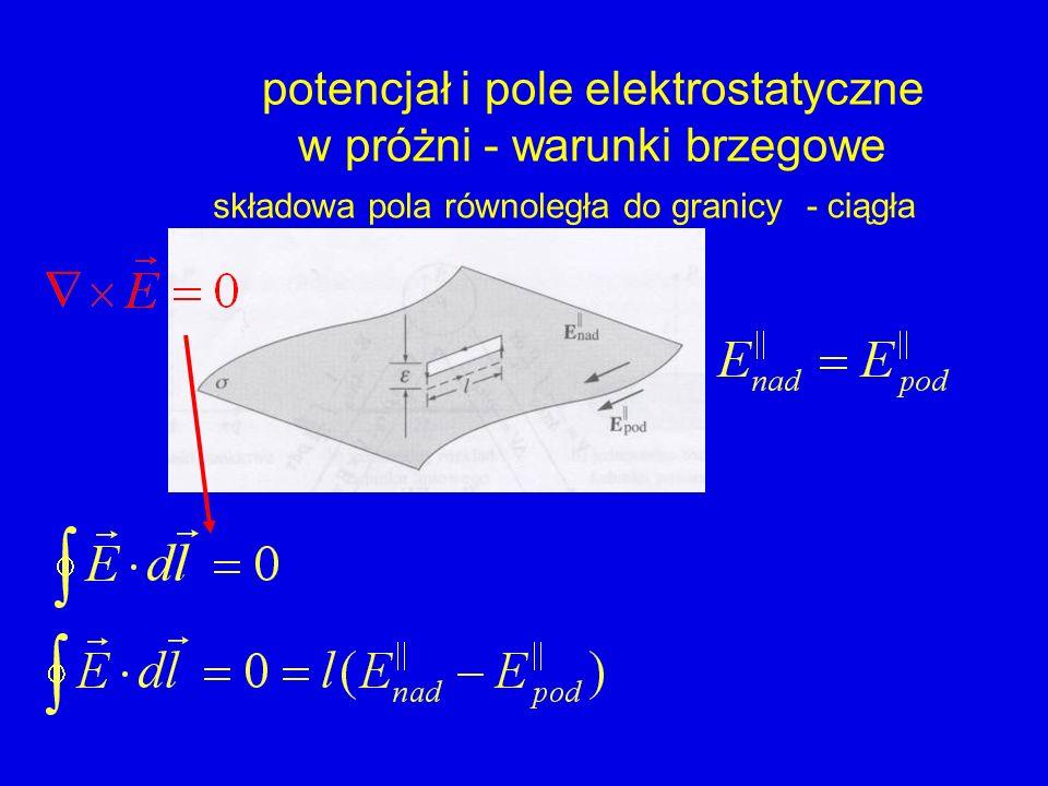potencjał i pole elektrostatyczne w próżni - warunki brzegowe