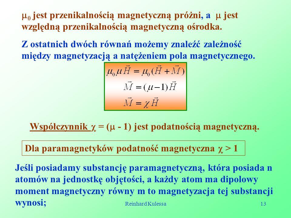 Współczynnik  = ( - 1) jest podatnością magnetyczną.
