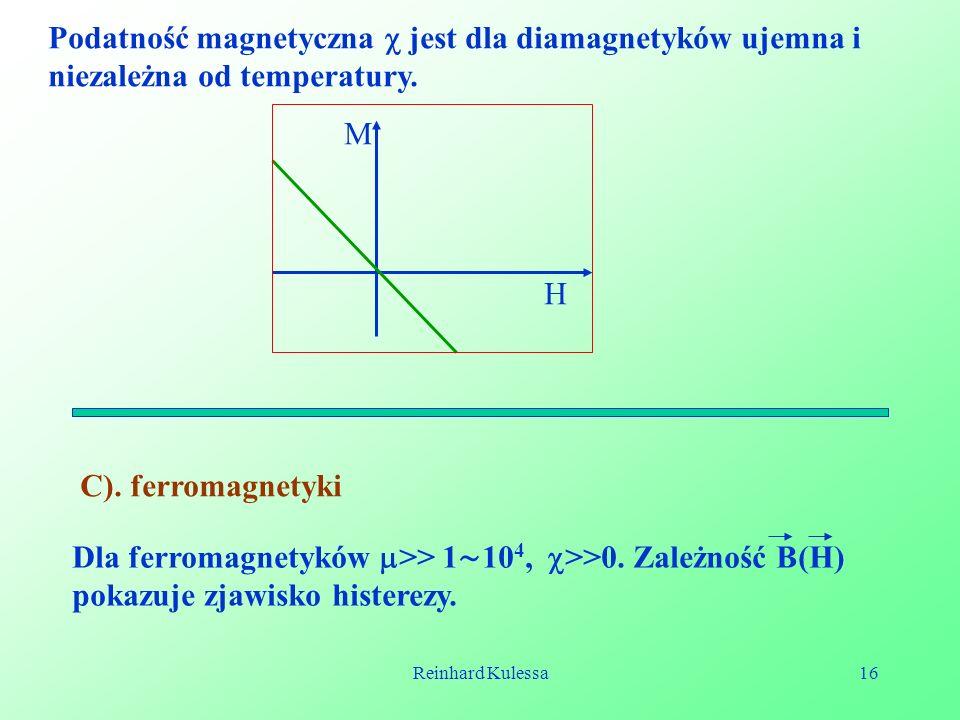 Podatność magnetyczna  jest dla diamagnetyków ujemna i niezależna od temperatury.