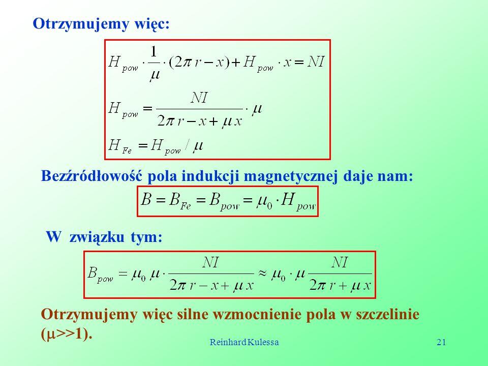 Bezźródłowość pola indukcji magnetycznej daje nam: