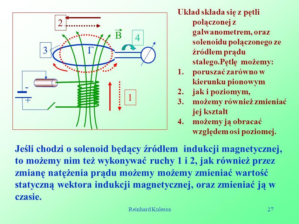 Układ składa się z pętli połączonej z galwanometrem, oraz solenoidu połączonego ze źródłem prądu stałego.Pętlę możemy: