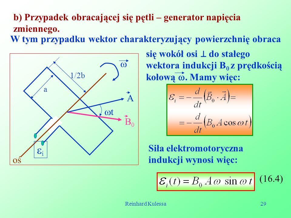 i b) Przypadek obracającej się pętli – generator napięcia zmiennego.