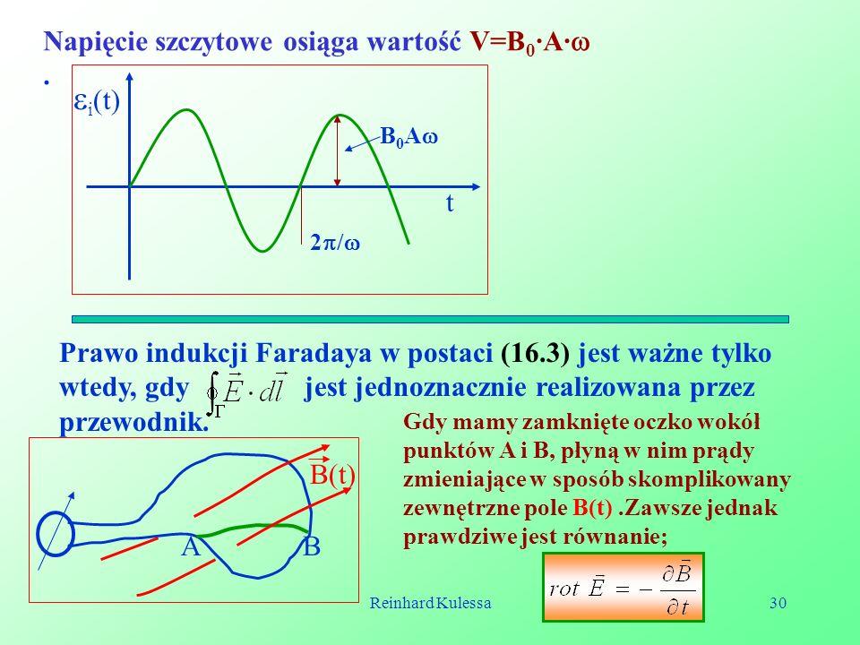i(t) Napięcie szczytowe osiąga wartość V=B0·A· . t